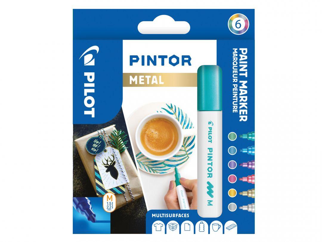 Pilot Pintor - Astuccio da 6 pz - Colori metallic - Punta Media
