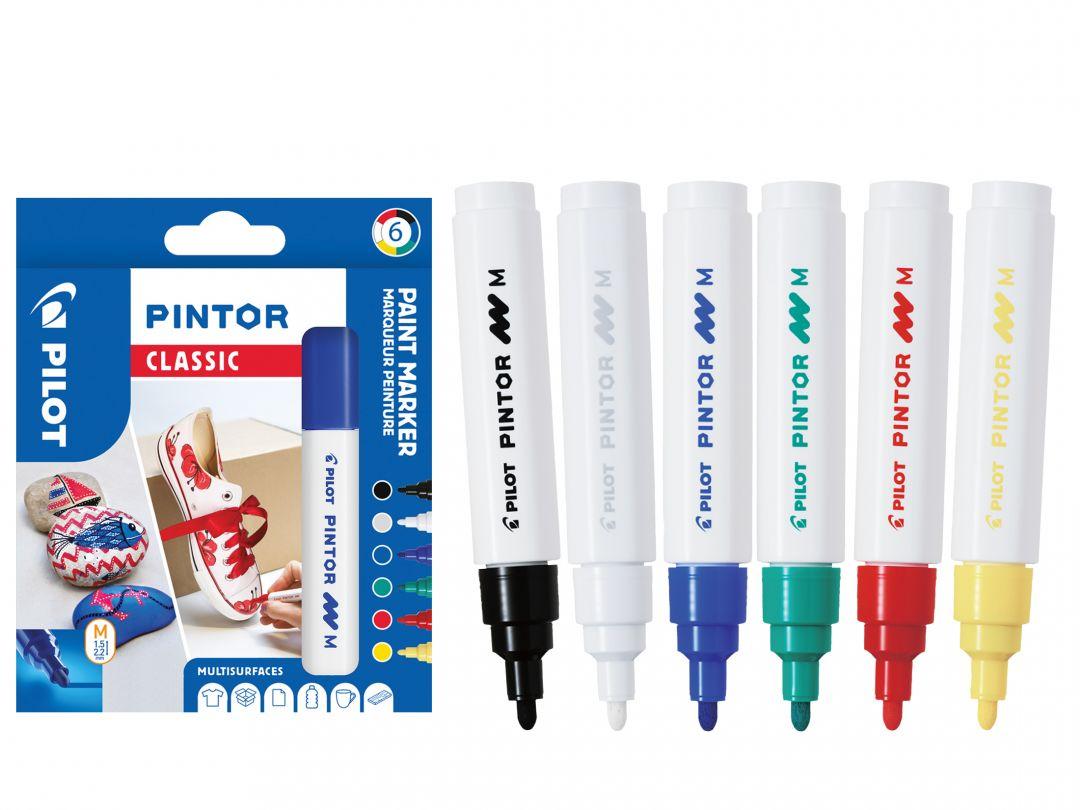 Pilot Pintor - Astuccio da 6 pz - Colori classici  - Punta Media