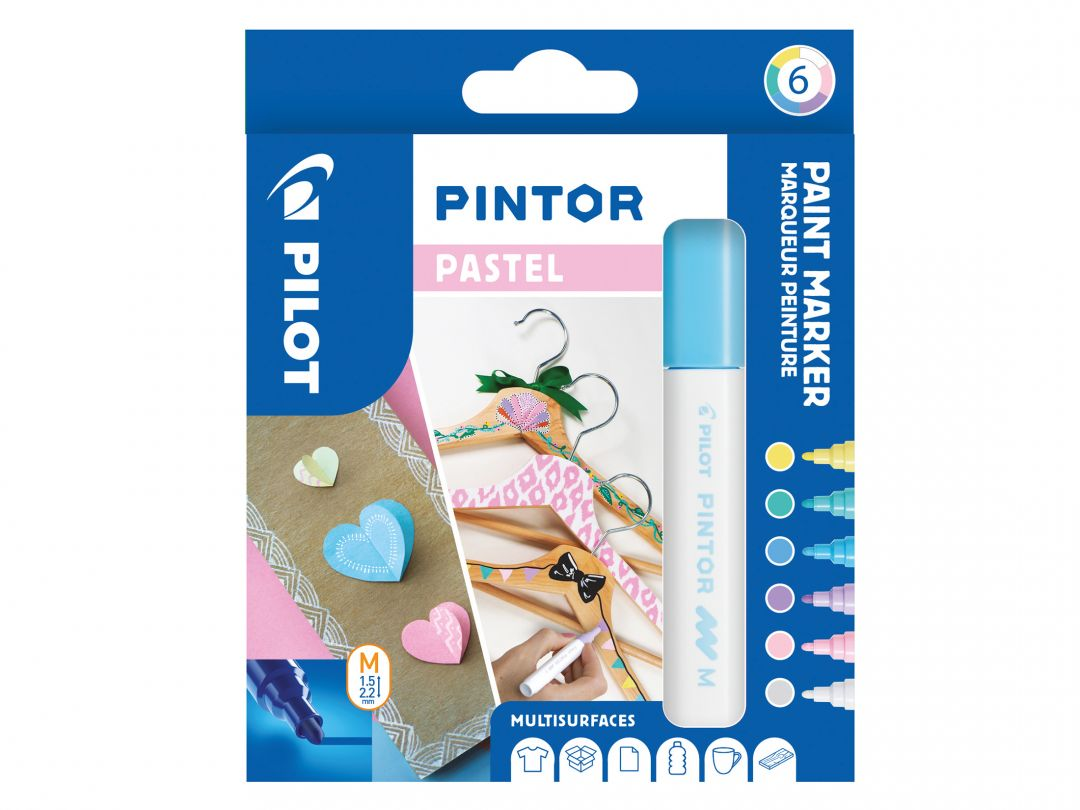 Pilot Pintor - Astuccio da 6 pz - Colori Pastel  - Punta Media